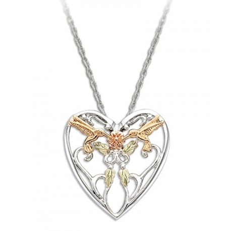 Black Hills Gold Sterling Silver Heart Pendant with 10k Hummingbirds