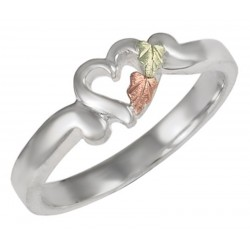 Black Hills Gold on Sterling Silver Heart Ring
