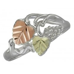 Black Hills Gold Sterling Silver Grape And Leaves Ring