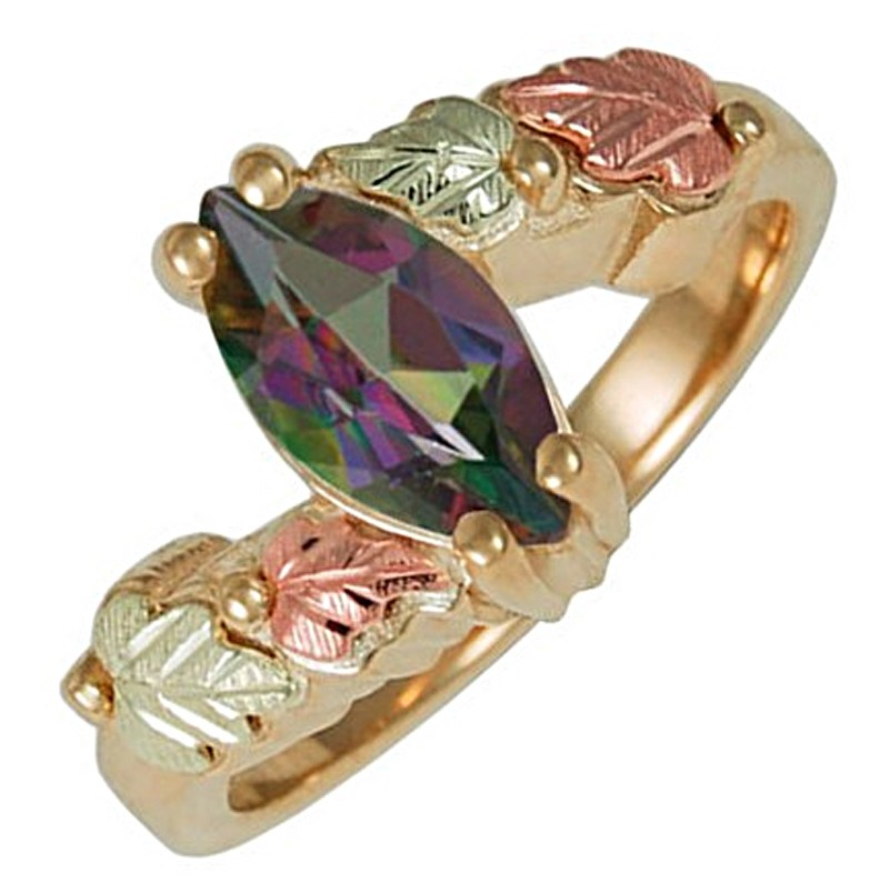 triangle rainbow genuine topaz wholesale rings fire mystic women ring