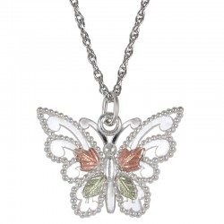 Black Hills Gold Sterling Silver Butterfly Pendant Necklace