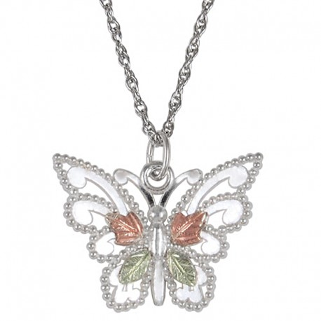 8ad0bbc95f1f4 Black Hills Gold Sterling Silver Butterfly Pendant Necklace -  BlackHillsGold.Direct - Klugex