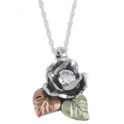 Black Hills Gold Ladies .925 Oxidized Silver White Cubic Zirconia Rose Necklace