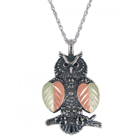 Black Hills Gold Sterling Silver Owl Pendant Necklace