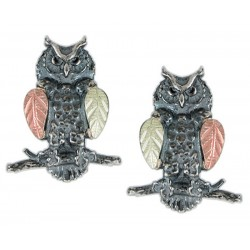 Black Hills Gold Sterling Silver Owl Post Earrings