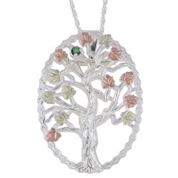 Family Tree Birthstone Silver Necklace and Brooch