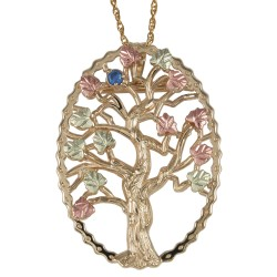 Black Hills Gold Family Tree Birthstone Silver Necklace and Brooch
