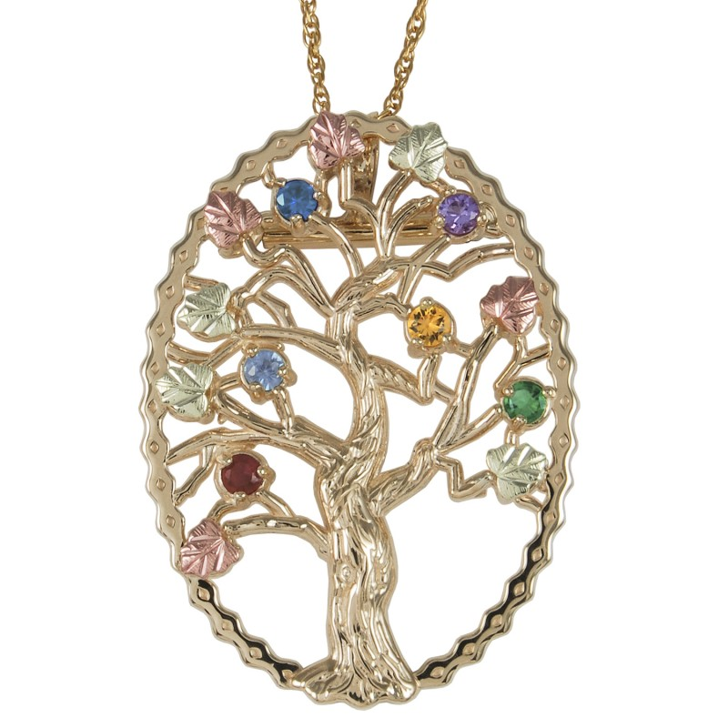 10k Black Hills Gold Family Tree Birthstone Necklace And