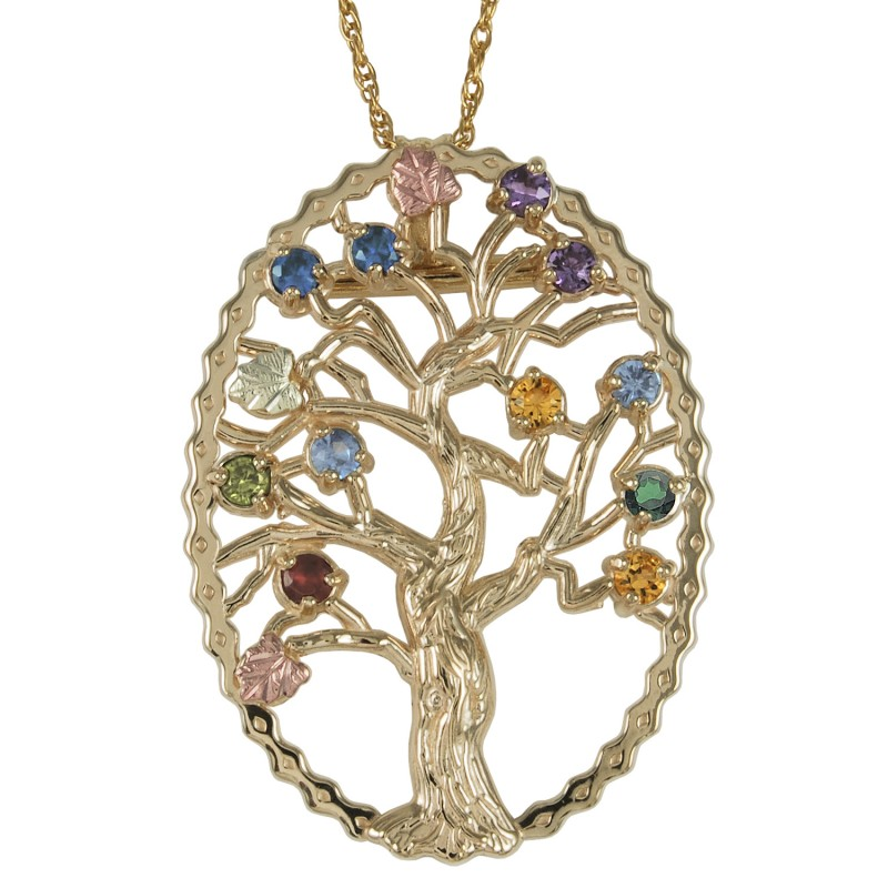 d508d9972a1a ... Black Hills Gold Family Tree Birthstone Silver Necklace and Brooch ...