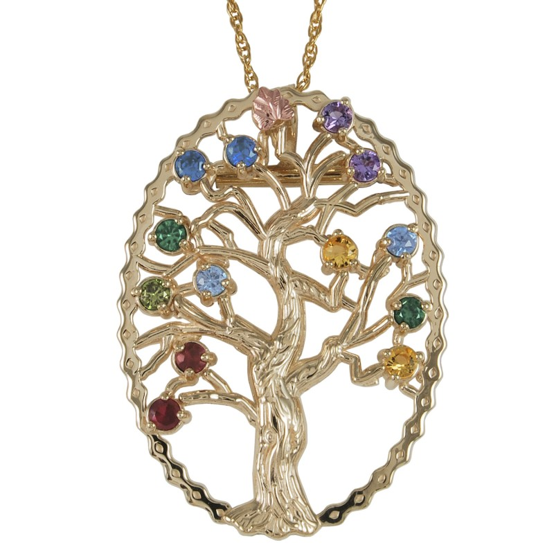 10k black hills gold family tree birthstone necklace and. Black Bedroom Furniture Sets. Home Design Ideas