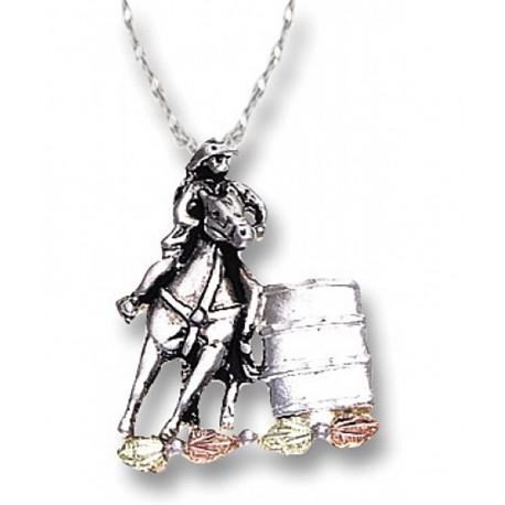 Black Hills Gold on Sterling Silver Barrel Racer Pendant Necklace
