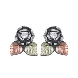 Black Hills Oxidized Sterling Silver Earrings With Cz