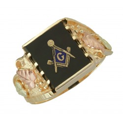10K Black Hills Gold Masonic Ring for Men's