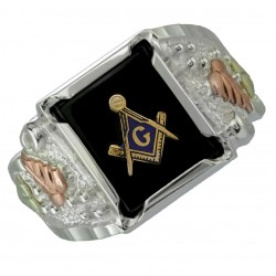 Black Hills Gold on Sterling Silver Masonic Ring for Men's