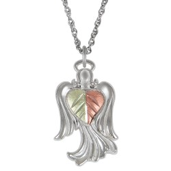 Black Hills Gold Sterling Silver Angel Pendant w Necklace