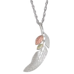 Black Hills Gold Sterling Silver Feather Pendant w Necklace