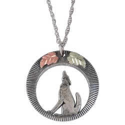 Black Hills Gold Sterling Silver Wolf Pendant w Necklace