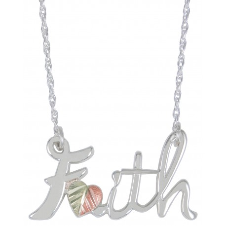 Black Hills Gold on Sterling Silver Faith Sign Necklace