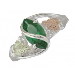 Black Hills Gold Sterling Silver Ring with Mt. St. Helens Emerald Size 8