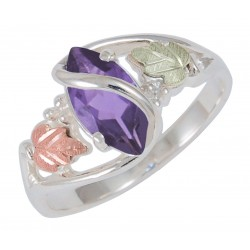 Black Hills Gold on Sterling Silver Amethyst Ladies Ring