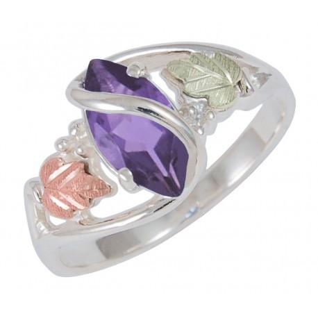 Black Hills Gold on Sterling Silver Amethyst Ladies Ring