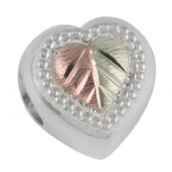 Black Hills Gold on Sterling Silver Memory Bead with Heart