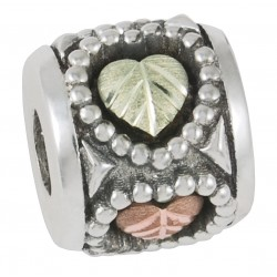 Black Hills Gold Sterling Silver Memory Bead with Hearts