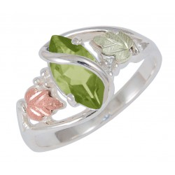 Black Hills Gold on Sterling Silver Peridot Ladies Ring