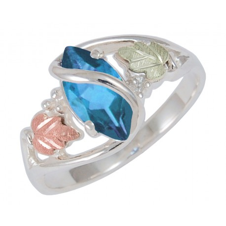 Black Hills Gold on Sterling Silver Blue Topaz Ladies Ring