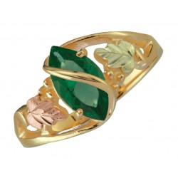 10K Black Hills Gold Mt. St. Helens Emerald Ladies Ring