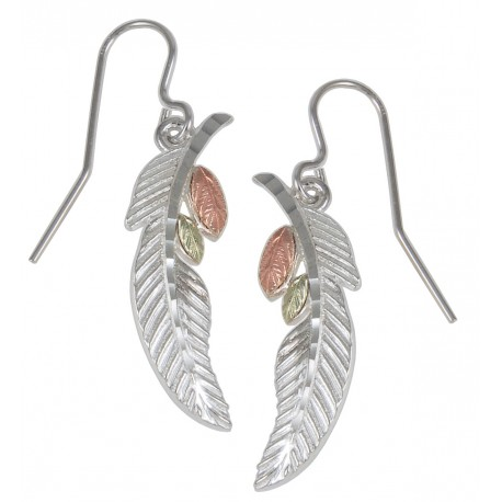 Black Hills Gold on Sterling Silver Feather Earrings