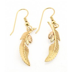 Coleman 10K Black Hills Gold Feather Earrings