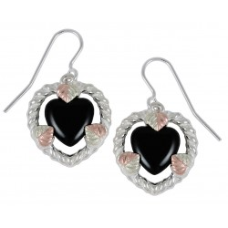 Black Hills Gold Sterling Silver Heart Earrings w Onyx