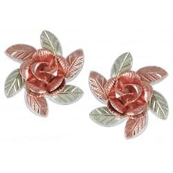 Black Hills Gold on Sterling Silver 10K Rose Earrings