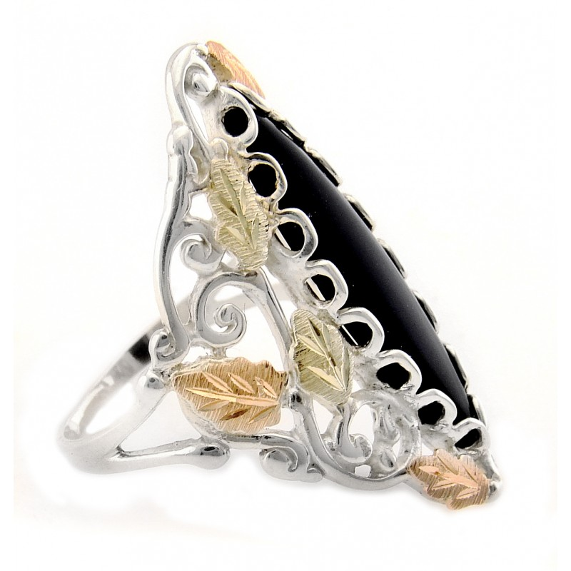 Black Hills Gold On Sterling Silver Onyx Ring