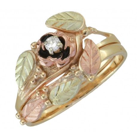 10k black hills gold antiqued rose 05tw diamond engagement ring set