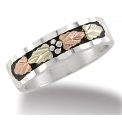Black Hills Sterling and 12K Gold Ladies Wedding Band Ring