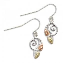 Black Hills Gold on Sterling Silver Earrings with Shepherd Hooks