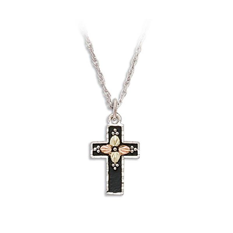 Black Hills Gold On Silver Antiqued Black Enamel Cross