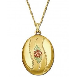 Black Hills Gold Locket with 10K Gold Rose