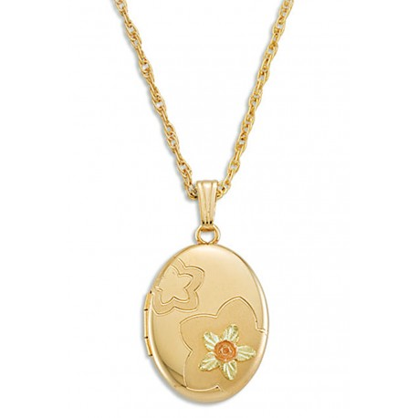 Black Hills Gold Heart Locket with Flowers