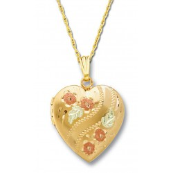 Black Hills Gold Heart Locket with Flowers and 12K Gold Leaves