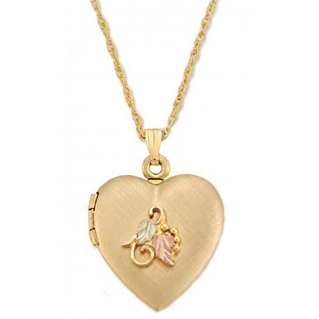 Black Hills Gold Heart Locket with 12K Gold Leaves