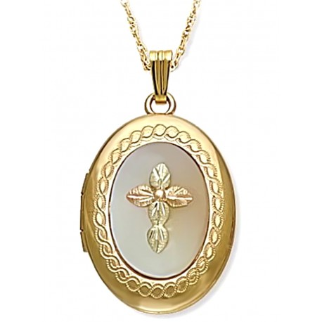 Black Hills Gold Mother of Pearl Locket with 12K Gold Cross