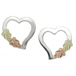 Black Hills Gold on Sterling Silver Heart Earrings