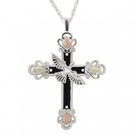 Black Hills Gold on Antiqued Sterling Silver Cross Pendant w Dove