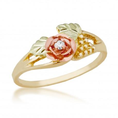 Ladies Black Hills Gold Rose Ring with Diamond