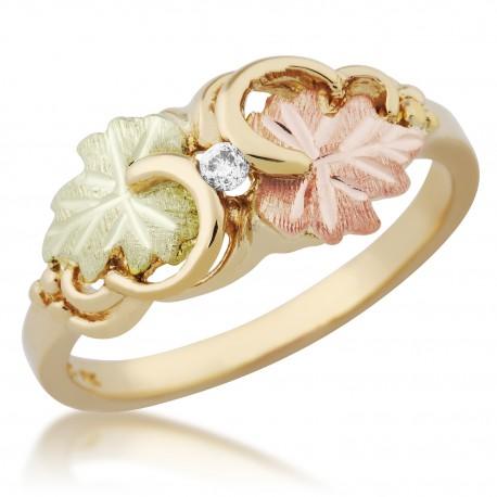 Black Hills Gold Ladies Ring with Diamond