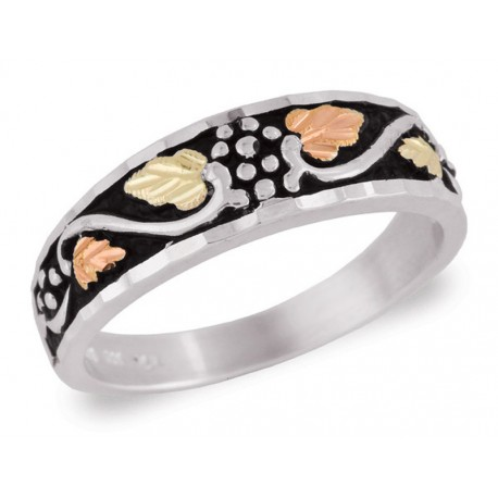 Black Hills Gold on Sterling Antiqued Ladies Band Ring