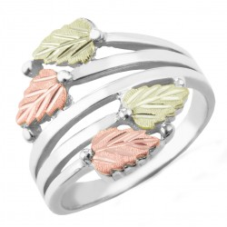 Stylish Black Hills Gold Leaves on Sterling Silver Ladies Ring